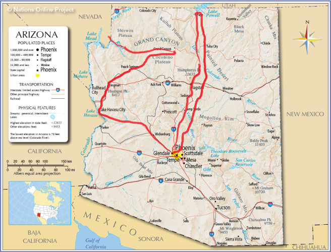 arizona road trips map